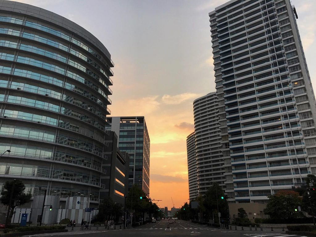 Yokohama Modern City Buildings Sunset