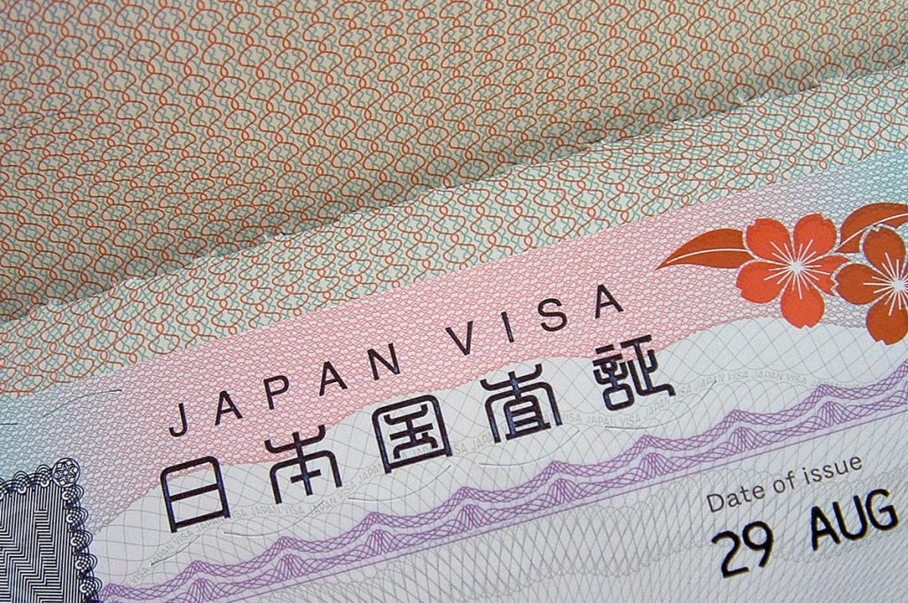 Working Holiday Visa Japan Passport Page