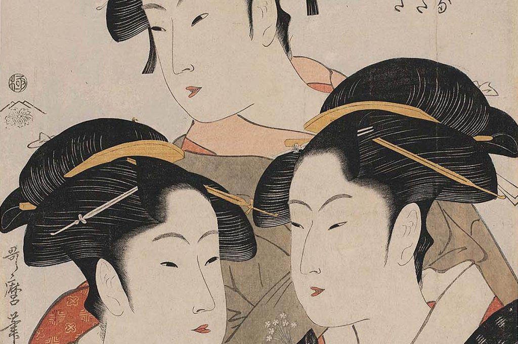 Ukiyo-e Three Beauties of the Present Day Kitagawa Utamaro