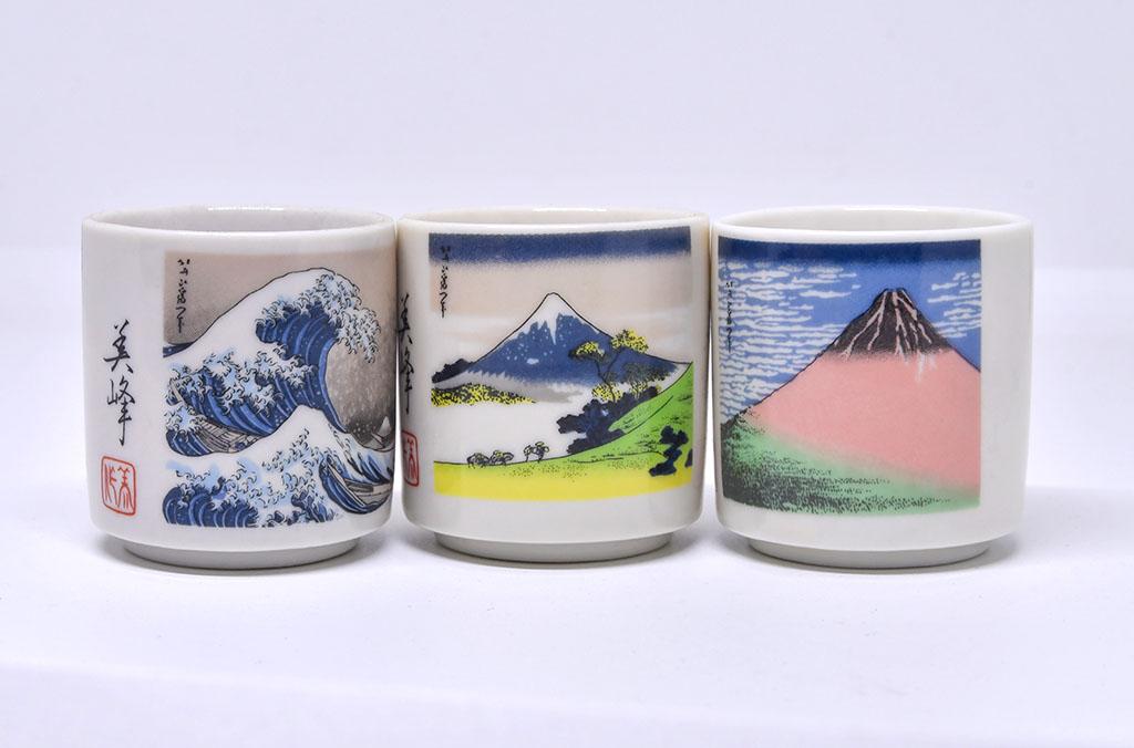 Sake Cups with Ukiyo Paintings